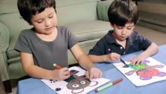Young Boys Coloring Bear Drawings (HD) Stock Footage