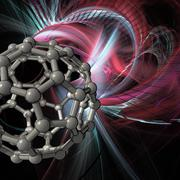 Buckyball molecule, artwork Stock Illustration