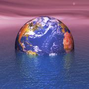 Rising sea levels, conceptual artwork Stock Illustration