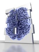 Building blocks with brain, artwork Stock Illustration
