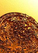 aztec sun stone, artwork - stock illustration