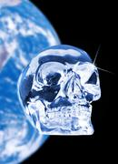 Crystal skull and earth, artwork Stock Illustration