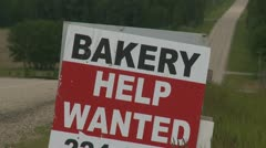 sign, help wanted bakery - stock footage
