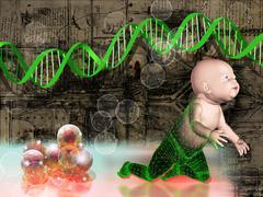 Human cloning, conceptual artwork Stock Illustration