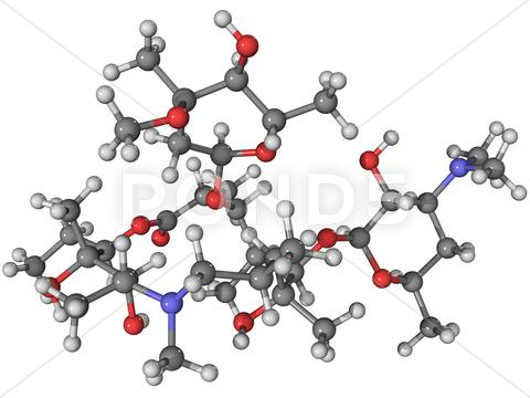 Stock Illustration of azithromycin antibiotic molecule