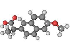 Naproxen anti-inflammatory drug molecule Stock Illustration
