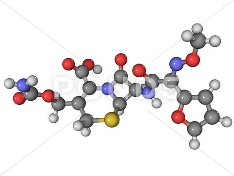 Stock Illustration of cefuroxime antibiotic molecule