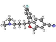 Citalopram antidepressant drug molecule Stock Illustration