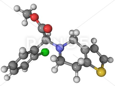 Stock Illustration of clopidogre anti-clotting drug molecule