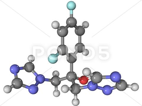 Stock Illustration of fluconazole anti-fungal drug molecule
