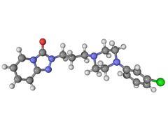 Trazadone antidepressant drug molecule Stock Illustration