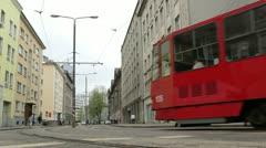 Red tram in Tallinn, Estonia. Stock Footage