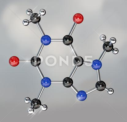 Stock Illustration of caffeine molecule