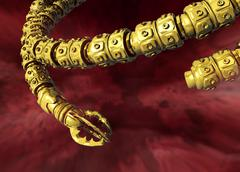 surgical snake robot, conceptual artwork - stock illustration