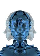 Humanoid robot, artwork Stock Illustration