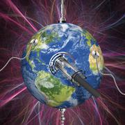 monitoring earth, conceptual artwork - stock illustration
