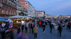 Italy, Venice, tourists, dusk T/L Stock Footage