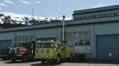 Whittier Alaska Industrial Sector Pan Stock Footage