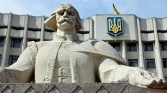 Figure Cymbalist And Ukrainian Flag Stock Footage