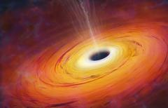 computer artwork of black hole - stock illustration