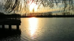 Timelapse Sunset At City Lake Stock Footage