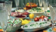 Holiday Table Change Focus Stock Footage