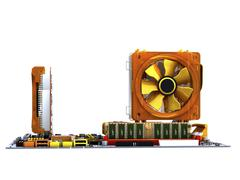 computer motherboard, artwork - stock illustration