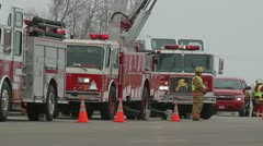 Fire Trucks on Roadway Stock Footage