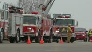 Stock Video Footage of Fire Trucks on Roadway