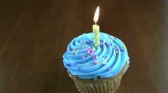 Hd of single birthday cupcake Stock Footage