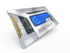 futuristic chip, artwork - stock illustration