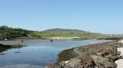 Galmisdale Bay at low tide Isle of Eigg Scotland Stock Footage