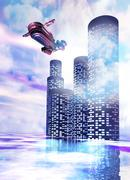 Future of travel, conceptual artwork Stock Illustration