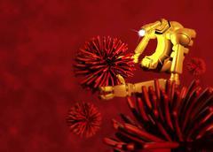 medical nanorobot, artwork - stock illustration