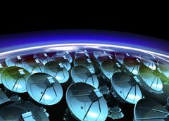 satellite array, artwork - stock illustration