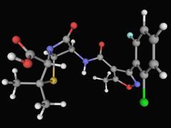 Stock Illustration of floxacillin antibiotic molecule