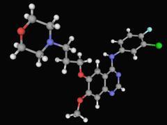 Gefitinib drug molecule Stock Illustration