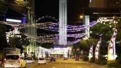 Singapore Christmas Traffic Stock Footage
