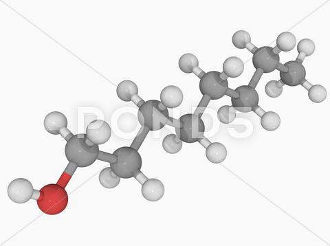 Stock Illustration of octanol molecule