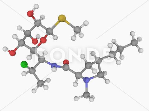 Stock Illustration of clindamycin drug molecule