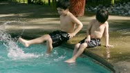 Stock Video Footage of Brothers Splashing in Pool (HD)