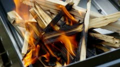 grill with charcoal and flames - stock footage