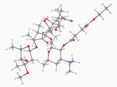 Erythromycin ethylsuccinate drug molecule Stock Illustration