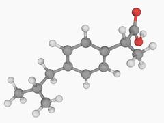 Ibuprofen drug molecule Stock Illustration