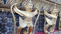 Sculpture of Rakshasa in Temple of the Emerald Buddha Stock Footage