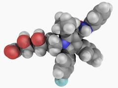 atorvastatin drug molecule - stock illustration