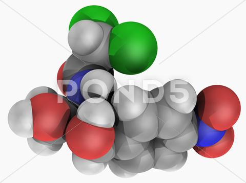 Stock Illustration of chloramphenicol drug molecule