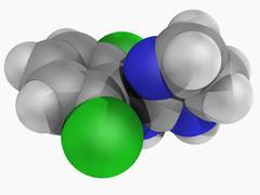 clonidine drug molecule - stock illustration