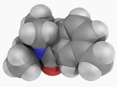 diethyltoluamide deet molecule - stock illustration
