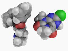 Dimenhydrinate drug molecule Stock Illustration